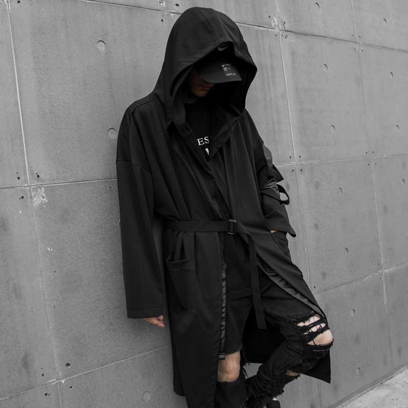 Men/'s Punk Style Cotton Hip Hop Hooded Jacket Long Sleeve Cape Knee Length Coats