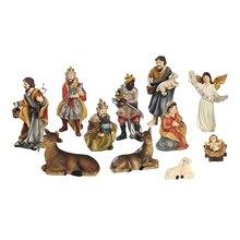 Nativity Scene Figures Christmas Desktop Decoration Figurines Pack of 11 Multi-Coloured