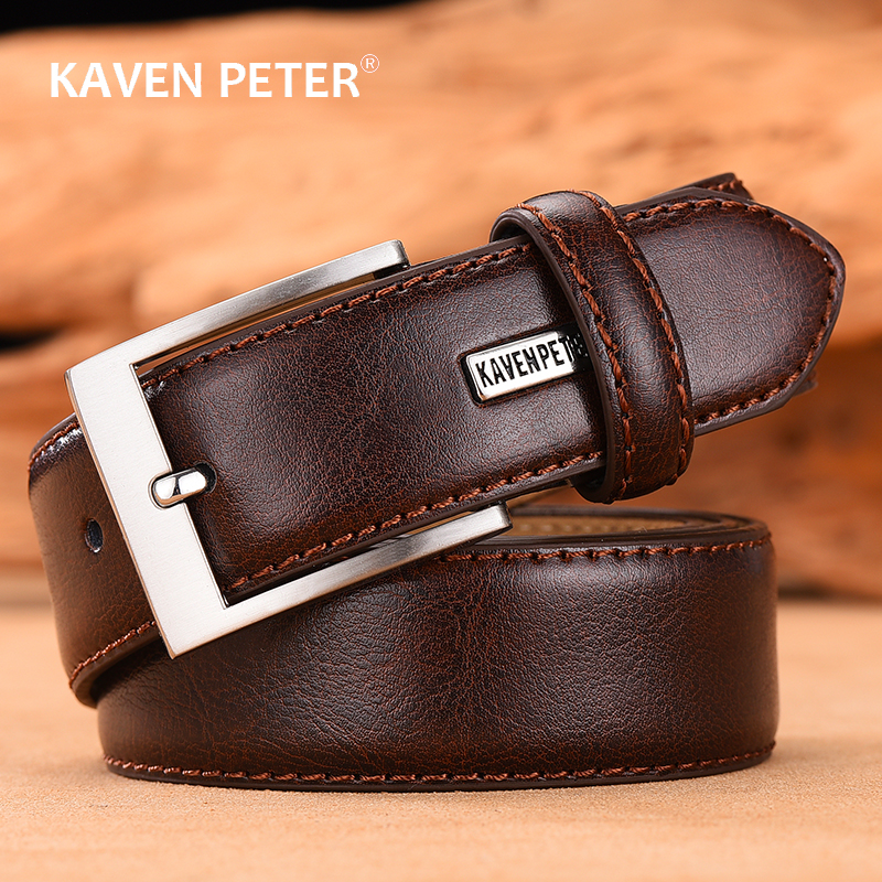 Leather Men's Belt Classic Pin Buckle Design For Jeans High Quality Male Genuine Leather Strap Dropshipping