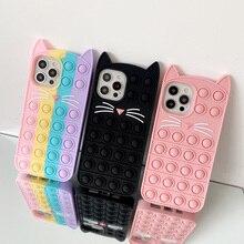 Phone Case For iPhone 12 11 Pro X XR XS Max 12 Mini 6 7 8 Plus SE 2 Relive Stress Pop Fidget Toys Push Cat Soft Silicon Cover