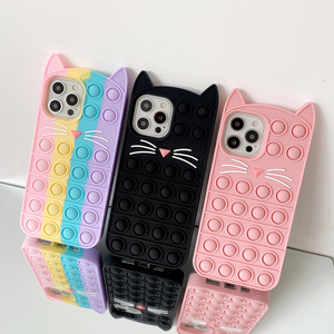 Image 1 - Phone Case For iPhone 12 11 Pro X XR XS Max 12 Mini 6 7 8 Plus SE 2 Relive Stress Pop Fidget Toys Push Cat Soft Silicon Cover
