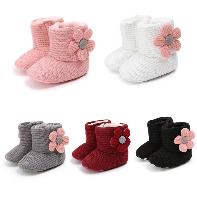 Warm Newborn Toddler Knitted Boots Winter First Walkers Baby Girls Boys Shoes Soft Sole Fur Snow Prewalker Booties For 0-18M