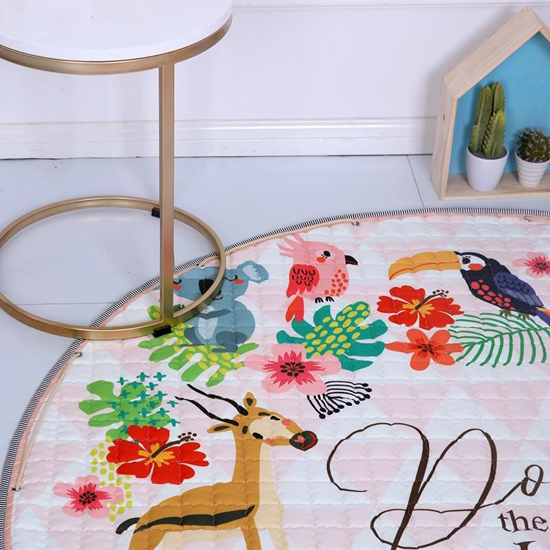 Haf1f2d61dc72455d9c8220ef9760a584A Kid Soft Carpet Rugs Cartoon Animals Fox Baby Play Mats Child Crawling Blanket Carpet Toys Storage Bag Kids Room Decoration