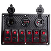 6 Gang Rote LED Auto Switch Panel 12V 24V Circuit Breakers Überlast Schützen Boot Rocker Switch Control Panel set