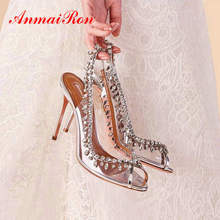 цена на ANMAIRON Luxury Shoes Women Designers Elegant Peep Toe Wedding Shoes Slip-On Thin Heels PVC Sexy Party Women Pumps Size 34-43