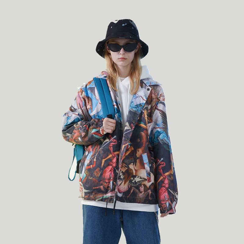 היפ הופ Streetwear חורף מפציץ מעיל גברים אופנה מודפס מעיל Harajuku בייסבול מעיל מקרית מעילים