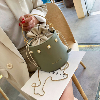 box design chinese tower print pu leather ladies bucket bag chain shoulder bag crossbody mini messenger bag for women handbag Women Messenger Bagdesign Women Handbag Pink Bucket Bag Ladies Shoulder Bag Casual Female Chain Crossbody Messenger Bag