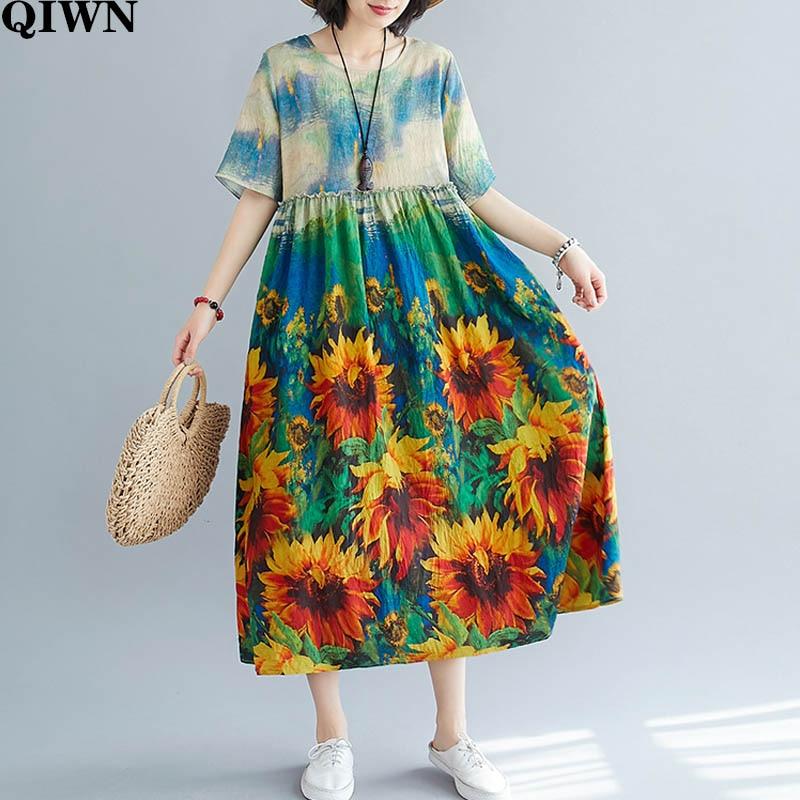 2020 летнее Новое Женское платье размера плюс из хлопка и льна, Пляжное Платье Бохо с цветочным принтом, женское платье большого размера 5XL