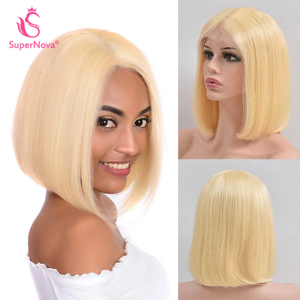 613 Короткие 13x4 Боба парик прямо бразильский Синтетические волосы на кружеве парики из натуральных волос для Для женщин SuperNova волос цвета блонд Боб Синтетические волосы на кружеве парик 99J