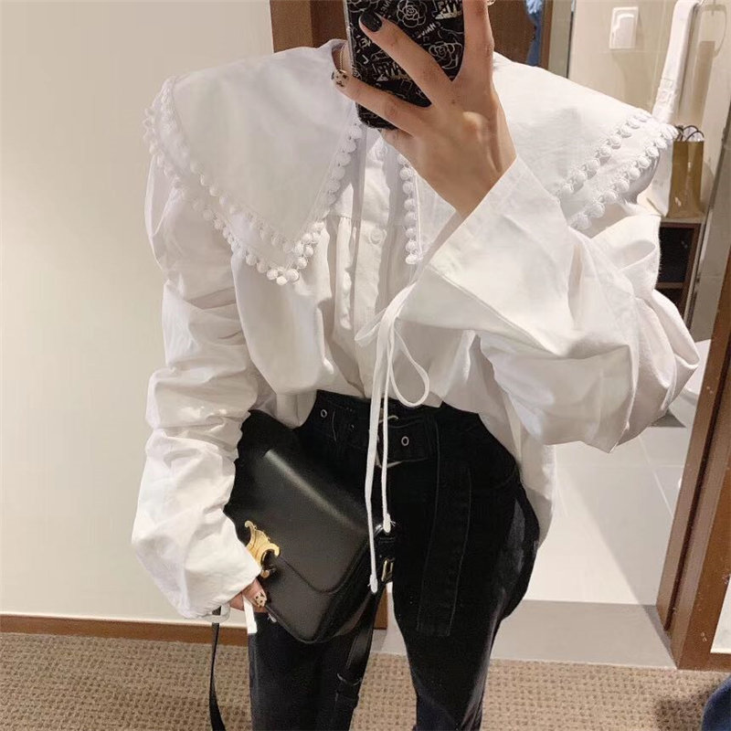 Alien Kitty Palace Style 2020 Office Lady Ruffles Thicken Drawstring High Quality Hot All-Match Loose Stylish Women Shirts
