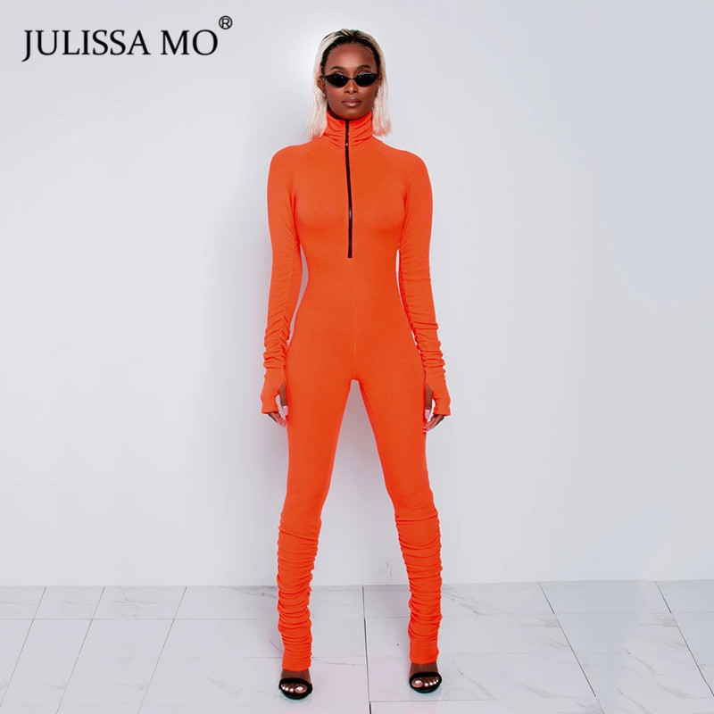 JULISSA MO Black Ribbed Sexy Bodycon Jumpsuit Women Turtleneck Zipper Skinny Rompers Overalls Casual Sport Wear Fitness 2020