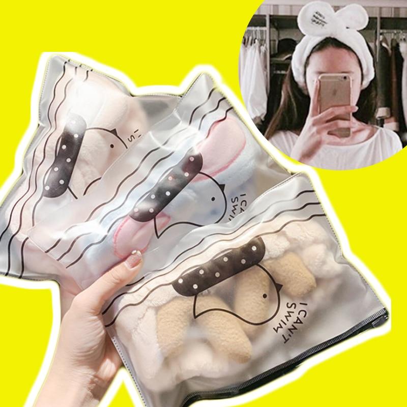 Rabbit Ears Bow Cute Elastic Headbands Wash Face At Home Hair Band Make Up Tool Women Hair Accessories