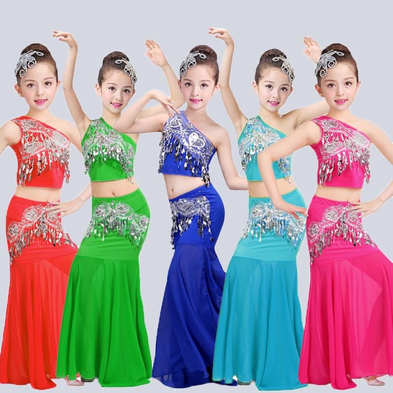 Songyueixia Children's Dai Dance Dress Peacock Dance Performance Dress Girls Children Fishtail Skirt South Buttock Dance Skirt