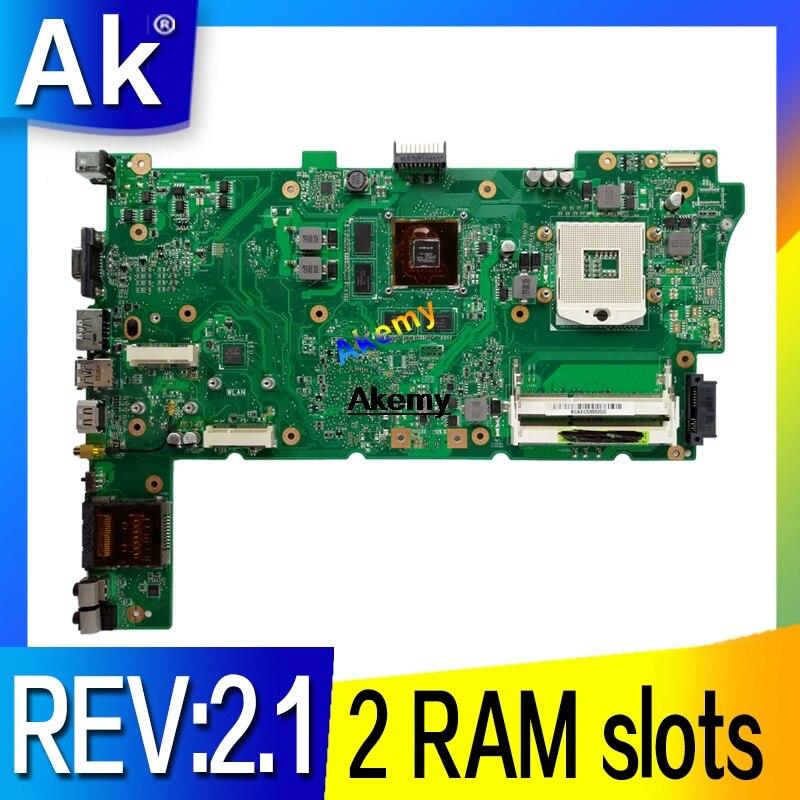Akemy Original Laptop Motherboard for ASUS N73JG N73JQ N73JF REV:2.1 60 NZYMB1100 C14 Mainboard 2 RAM slots 100% tested|Motherboards| |  - title=