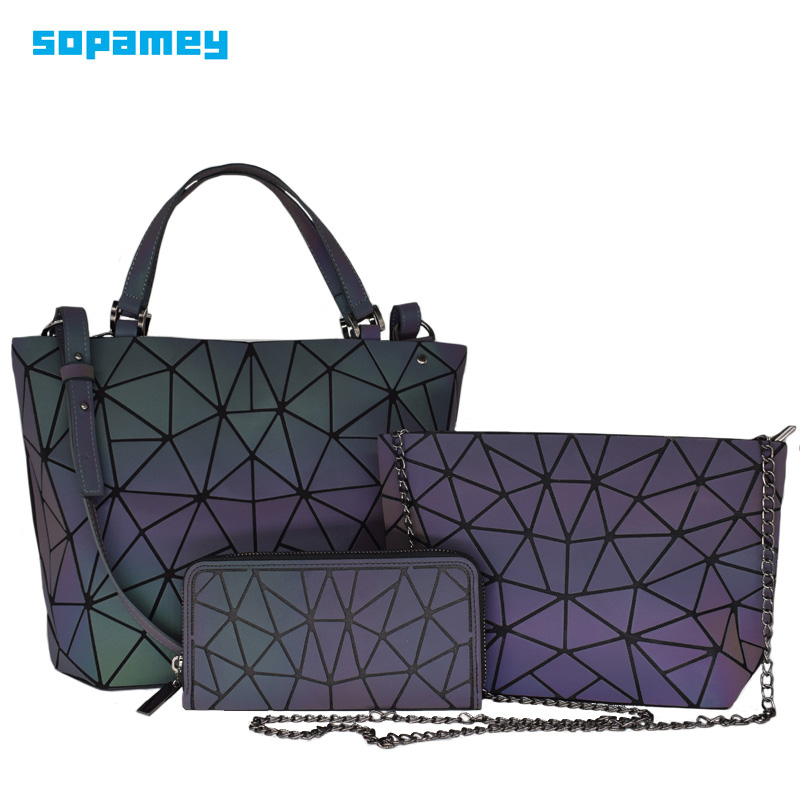 Women Shoulder Bags Set 3 Pcs Luxury Designer Geometric Folding Crossbody Bag Female Purse And Handbag Ladies Luminous Tote Bag