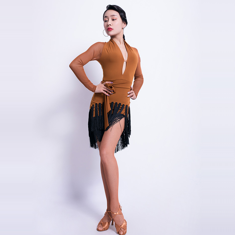 Latin Dance Dress Female Adult V-Neck Dress New Sexy Female Tassel Competition/Performance Dance Practice Skirt