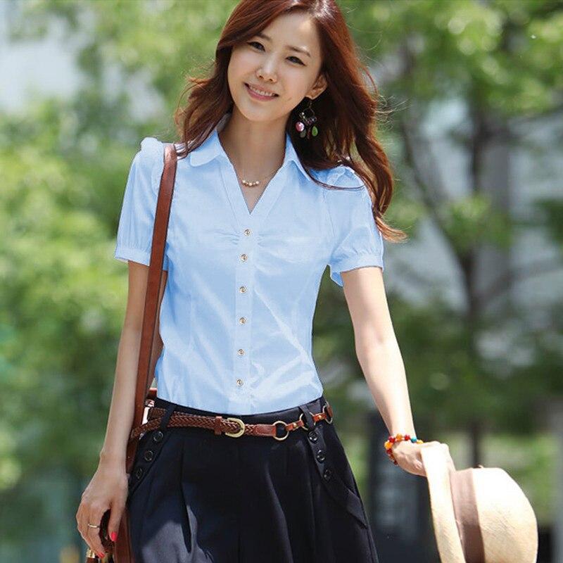 Женские рубашки, элегантная женская белая рубашка с v-образным вырезом, большие размеры, корейская мода, хлопковые блузки, рубашки, офисные ж...