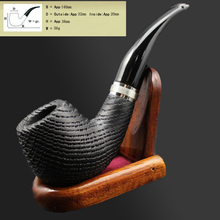 16 Tools Handmade Nature Bog Oak Wood Tobacco Smoking Pipe Bowl Wooden Ring Smoke Pipe +Pouch +Stand +9mm Pipe Filters XBD506