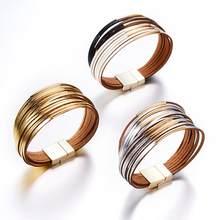 Moda 12 camadas de couro wrap pulseira para mulheres homens ouro ímã fivela pulseiras casal pulsera mujer masculino presente jóias