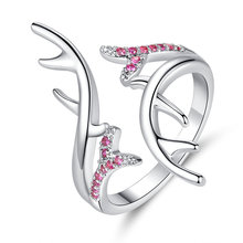 Unique Elk Antlers Rings for Women Silver Color Adjustable  Ring Wedding Bands Party Jewelry