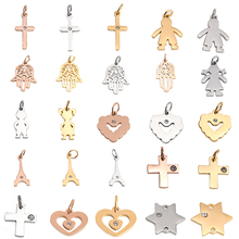 Fashion Charms Jewelry-Making Steel Pendants Stainless-Steel Cross-Heart Craft Wholesale-Accessory