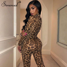 Simenual Leopard Sexy Mesh Transparent Rompers Womens Jumpsuit Party Hot Long Sleeve Fashion 2019 Skinny Zipper Jumpsuit Fitness