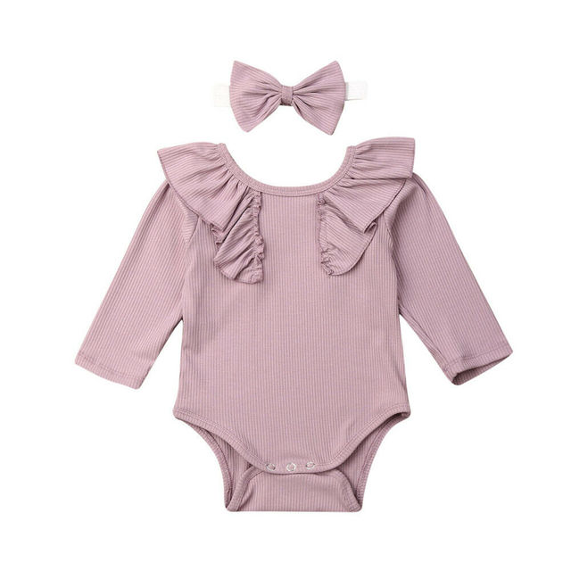 2019 Baby Spring Autumn Clothing Newborn Baby Girl 2PCS Clothes Set Ruffle Solid Ribbed Bodysuits Long Sleeve Jumpsuit +Headband