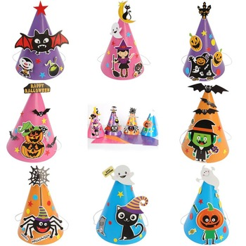 Nuovo Della Ragazza del Ragazzo Dei Capretti Dei Bambini FAI DA TE Halloween Cappello della Strega Cappello Da Mago Cappello Stelle Fancy Mago Tappi di Halloween Costumi Trasporto di Goccia Libera