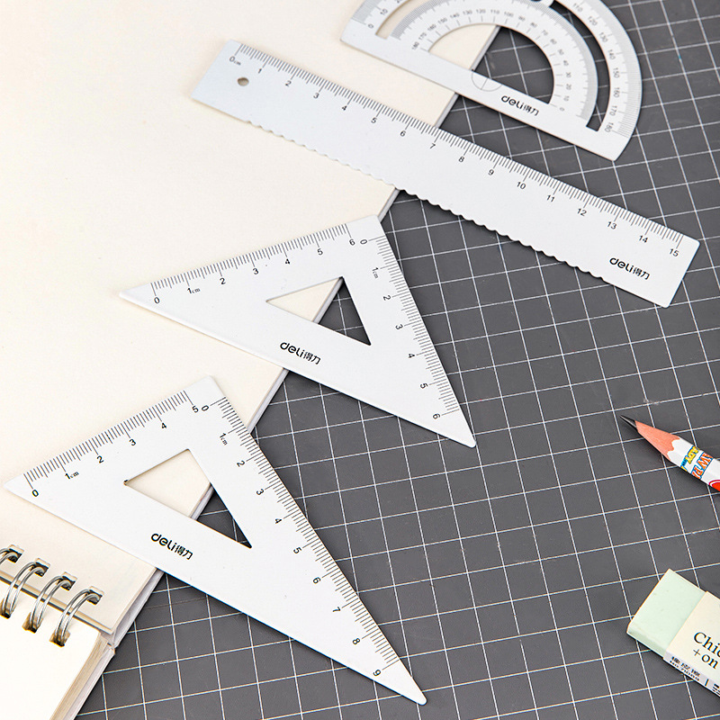 Deli Stationery 79510 Metal Ruler Sets Ruler Primary School STUDENT'S Exam Drawing With A Ruler Triangle Ruler Protractor