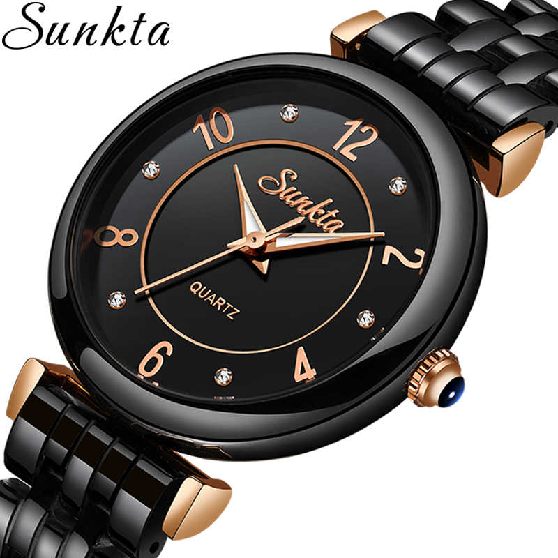 SUNKTA 2019 חמה נשים שעוני יוקרה מותג מתנה שחור גבירותיי שעון אופנה/שמלת שעוני יד עמיד למים פשוט סגנון Reloj Mujer