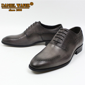 Image 5 - LUXURY BRAND MEN OXFORD SHOES ITALIAN HANDMADE GENUINE LEATHER FORMAL SHOES LACE UP GRAY OFFICE BUSINESS WEDDING DRESS SHOES MEN