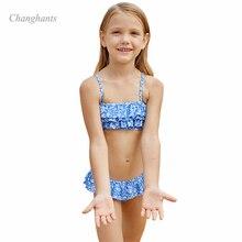 купить 2019 New Model Girls Bikini Set Kids Two Piece Swimwear Cake Layer Flower Children Bathing Suit Child Summer Beach Swim Wear дешево