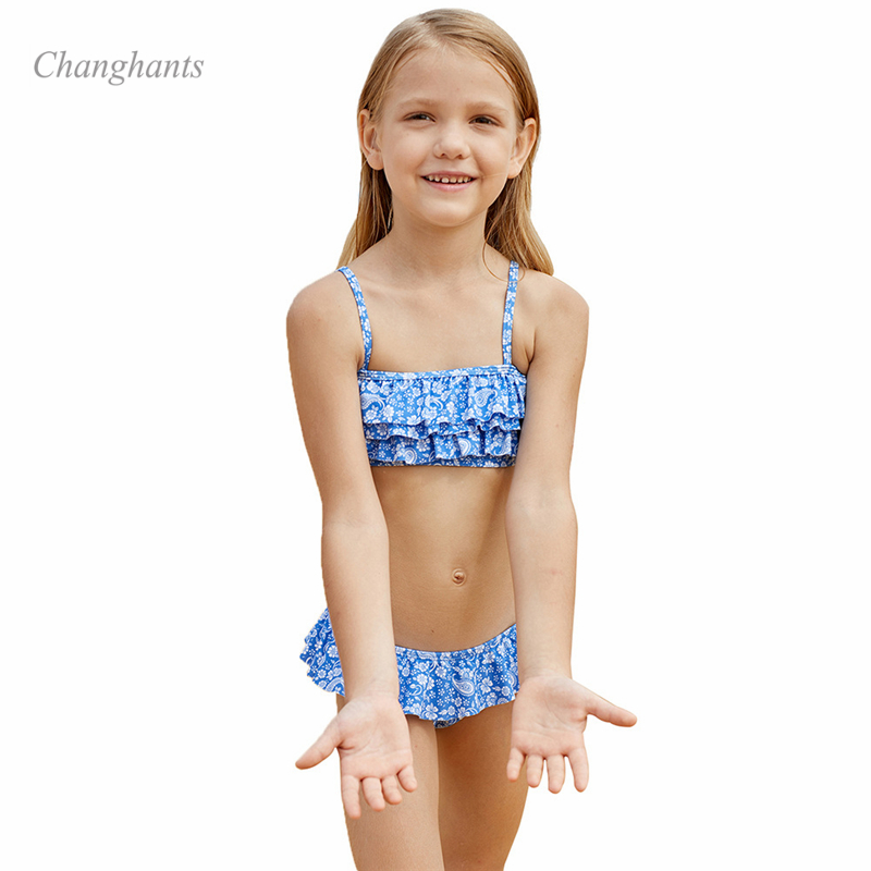 2020 New Model Girls Bikini Set Kids Two Piece Swimwear Cake Layer Flower Children Bathing Suit Child Summer Beach Swim Wear