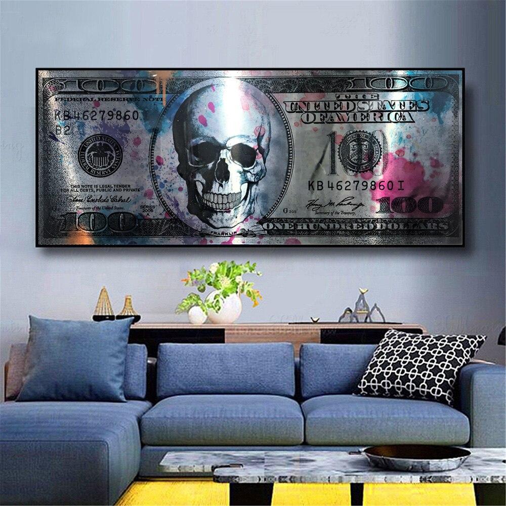 Dólar crânio arte moderna lona poster e cópias dinheiro criativo 100 dólares imagem decoração da parede pintura para o quarto liviung