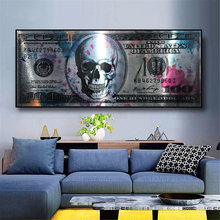 Dollar Skull Modern Art Canvas Poster And Prints Creative Money 100 Dollars Picture Wall Decor Painting For Liviung Room
