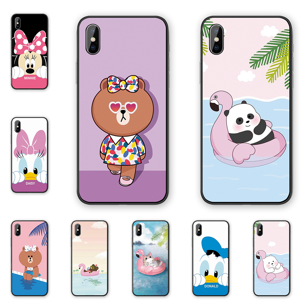 Lovely Cartoon Lovers <font><b>Mickey</b></font> Minnie Silicone soft Cases cover For <font><b>iphone</b></font> XR X XSMAX 5 5S 6 <font><b>6S</b></font> 7 8 Plus 11 11ProMax <font><b>Coque</b></font> Funda image