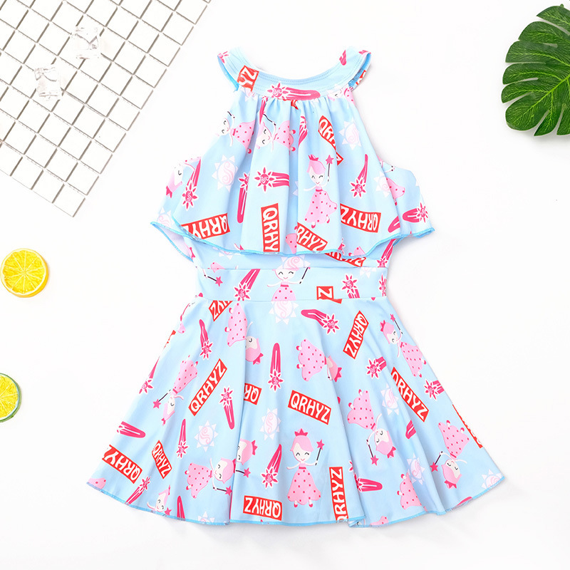 KID'S Swimwear Girls Korean-style One-piece Princess Dress-Baby Cute Tour Bathing Suit GIRL'S Students Bubble Hot Spring Swimwea