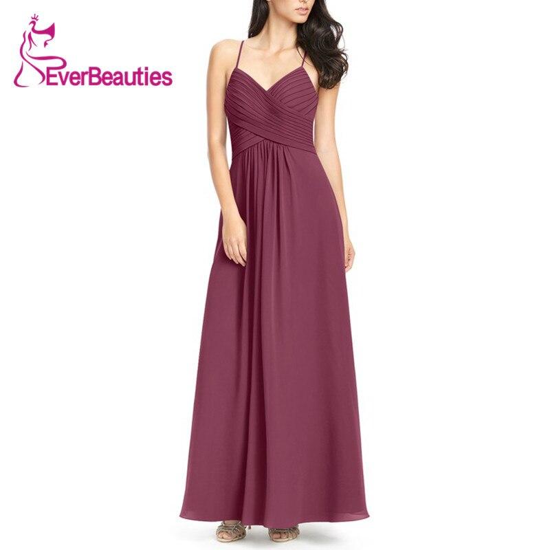 Dark Reddish Purple Elegant   Bridesmaid     Dresses   2019 Chiffon Party   Dress   Graceful Spaghetti Strap Robe De Demoiselle D Honneur