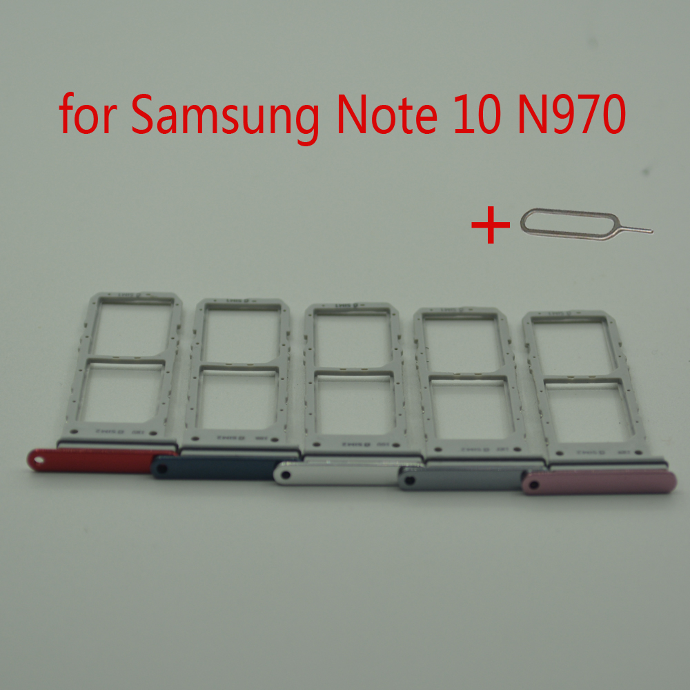 <font><b>Sim</b></font> <font><b>Card</b></font> <font><b>Adapter</b></font> For <font><b>Samsung</b></font> Note 10 N970 Galaxy Note10 N970F Original Mobile Phone Housing New Micro SD <font><b>Card</b></font> Tray Holder Slot image