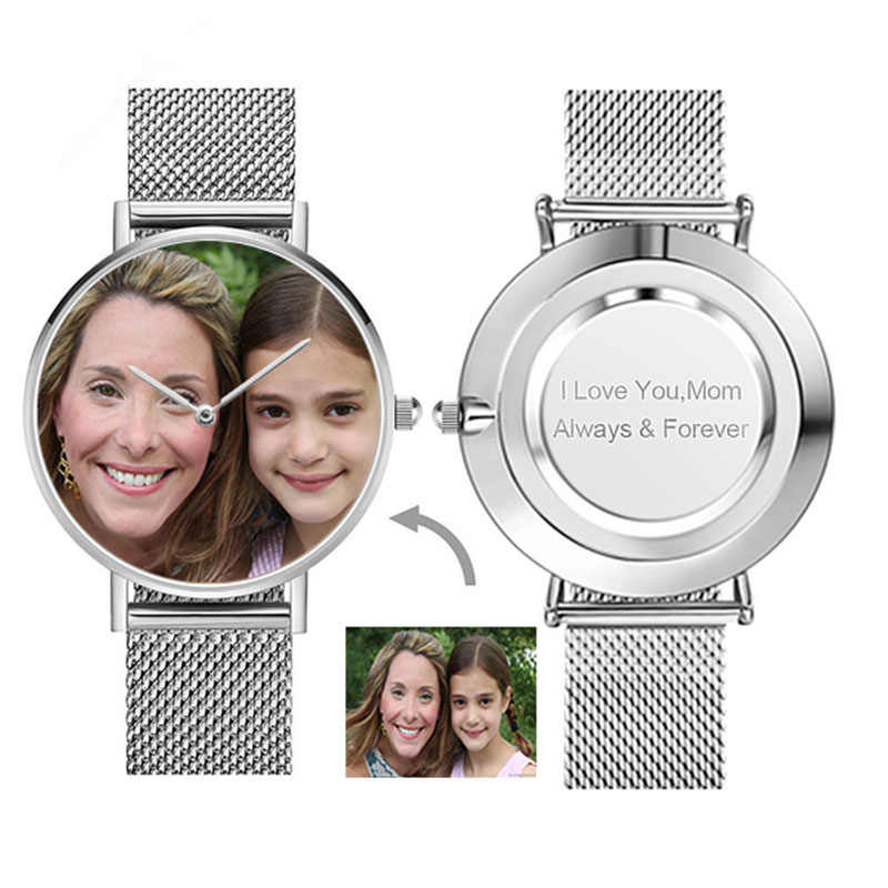 CL033 Wanita Terukir Logo Disesuaikan Watch Pola Stainless Steel Photo Tonton Printing 36 Mm