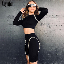 Auyiufar Sporty Reflective Striped 2 Piece Outfits Women Skinny Long Sleeve Cropped Top And Biker Shorts Active Wear Tracksuits