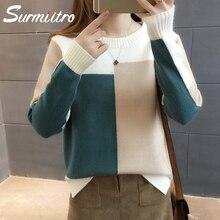 Женский свитер с вязаным SURMIITRO, длинным рукавом лоскутного прыгуном в корейском стиле для женщин осени зима