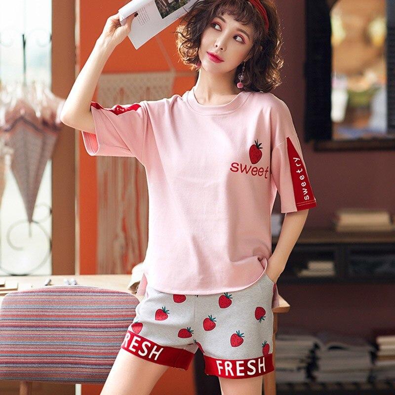 Summer  Women Set  Sweet Print Pajamas Set Women Short-Sleeved Shorts Home Clothing Set
