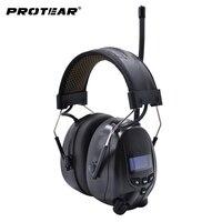 Fone de ouvido recarregável da proteção da orelha da bateria de lítio  preto protear dab +/fm protetor auditivo bluetooth|Protetor auricular| |  -