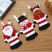 Cubierta de cubertería para Navidad, 1/3 Uds., tenedor, palillos, decoración para la mesa, Navidad, Año Nuevo