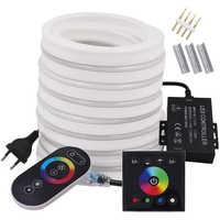 Tira de luces LED de neón con Control remoto, Control Dual, RGB, 220V, 110V