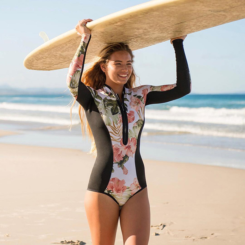 Женская одежда для плавания с цветочным принтом, цельный купальный костюм с длинным рукавом, купальный костюм в стиле ретро, винтажная пляжная одежда, купальный костюм для серфинга