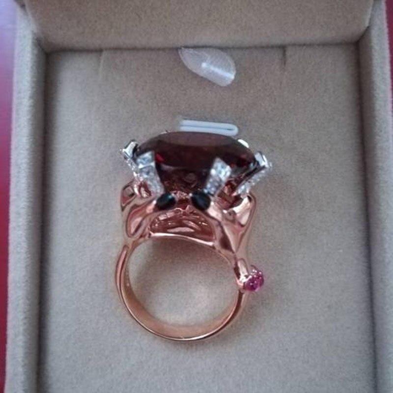Qi Xuan_Fashion Jewelry_Big темно-красный камень роскошный гнев Rings_S925 Стерлинговое Серебро твердые руки палец rings_завод прямые продажи