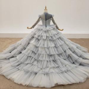 Image 2 - HTL1381 אפור שכבות ערב שמלות למעלה ושרוול עם שקוף חרוז ערב שמלת תחרה עד שמלת ערב בתוספת גודל Sukienki