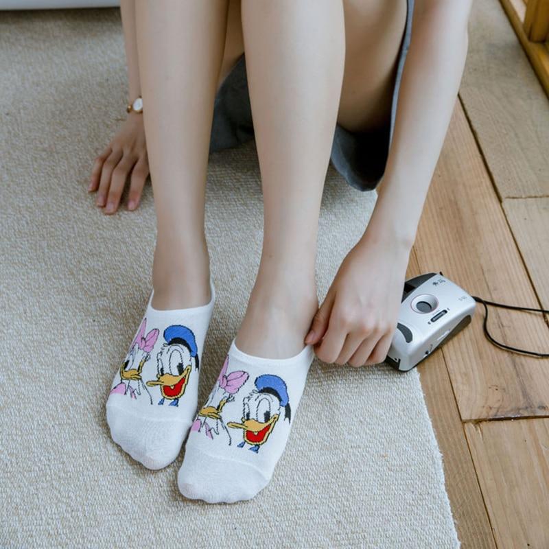 5 Pairs Summer Socks Cotton Invisible Socks Cartoon Animal Mickey Mouse Duck Funny Ankle Socks Women Socks Boat Sock Size 35-40 5
